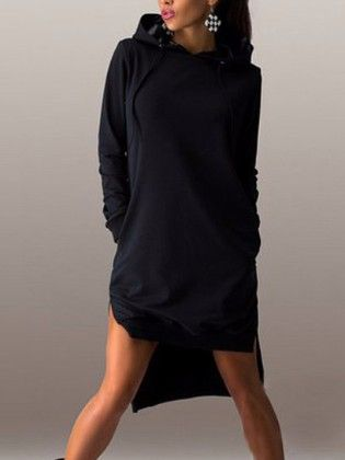 Hooded Long Sleeve High Low Dress Black - She In