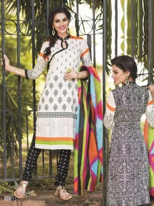 Cotton Printed Black And White Dress Material - Fashion Fiesta - 234929