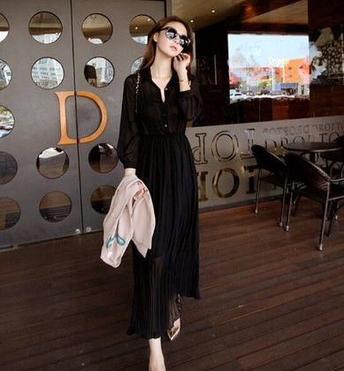 Long Length Black Maxi Dress - Oomph