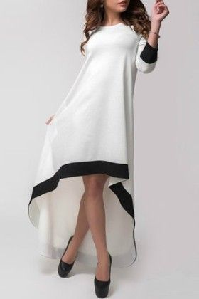 White Round Neck Contrast Trims High Low Dress - She In