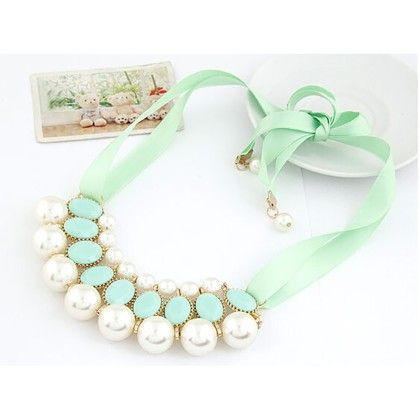 Pearl Necklace Jewellery Green - The Dressing Loft