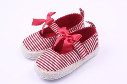 Stripe And Lace Bow Shoes - Red - Peach Giirl