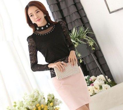 Cotton Lace Tops-black - Dells World