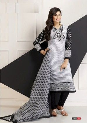 Cotton Printed Monochronic Dress Material - Fashion Fiesta