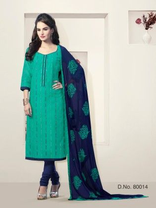 Touch Trends Teal Chanderi Silk Dress Material - Touch Trends Ethnic