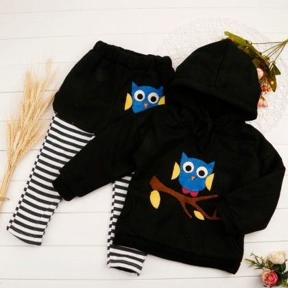 Cute Owl Print Hoodie & Shorts With Attached Leggings - Black - Mellow