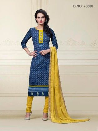 Blue Cotton Dress Material - Touch Trends Ethnic