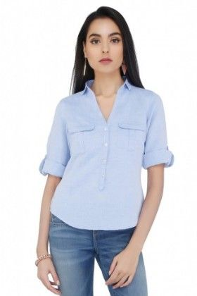 Womens Solid Sky Blue Blouse - CottonWorld