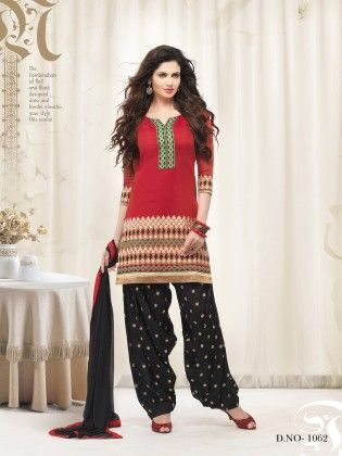 Touch Trends Bloud Red Chanderi Silk Dress Material - Touch Trends Ethnic