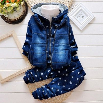 Blue Stars Coat Pant & Vest Set - Lil Mantra