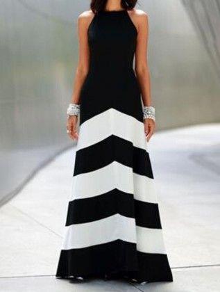 Black White Monochrome Evening Sleeveless Striped Ankle Length Dress - She In