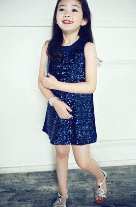 Party Wear Sleeveless Sequined Dress - Blue - Little Dress Up