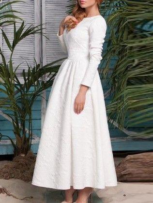 White Long Sleeve Embossed Flare Dress - She In