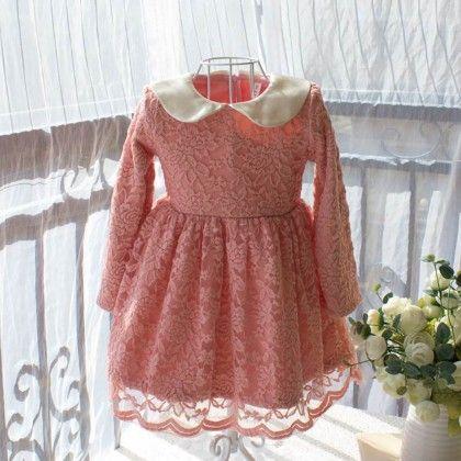 Peach And Cream Fleece Dress - Petite Kids