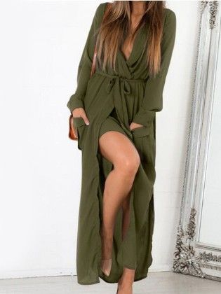 Green Deep V Neck Self-tie Pockets Chiffon Dress - She In