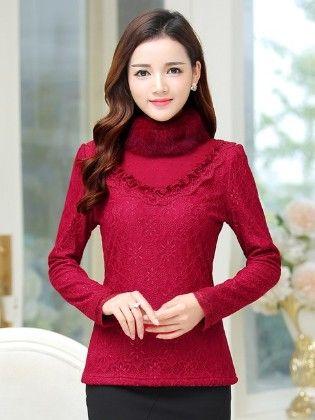 Fur Lace Top For Winter By Mauve - Mauve Collecton