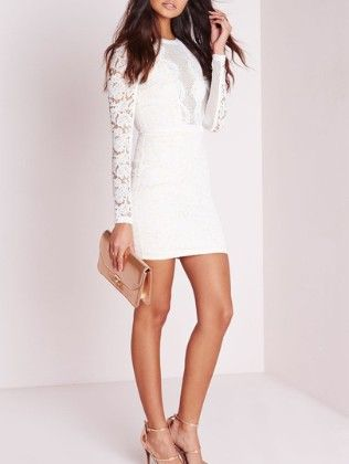 White Long Sleeve Hollow Lace Sheath Dress - She In