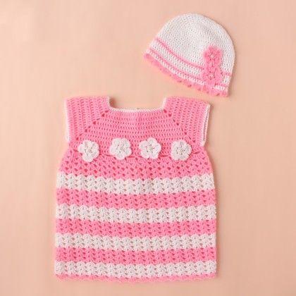 Pink And White Dress - Knitting Nani