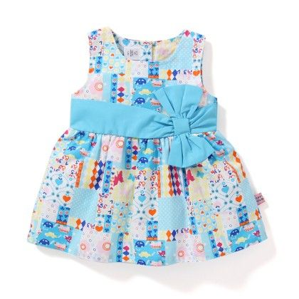 Butterfly Printed Girls Dress With Bow - Blue - TOFFYHOUSE