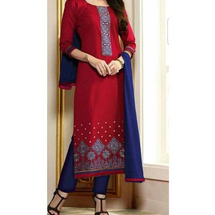 Red Span Embroided Dress Material - Trendy & Style
