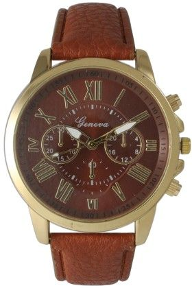 Leather Band Watch With Roman Numbers-dark Brown - Vernier Watches