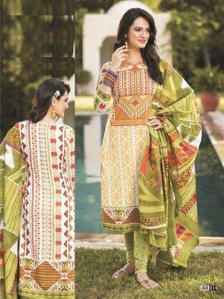 Cotton Printed Mhendi Dress Material - Fashion Fiesta