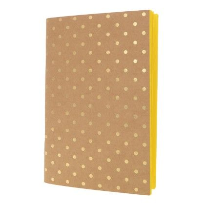 Foiled Polka Dots With Neon Yellow Notebook - Creative Crazy