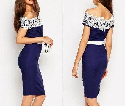Classy Blue Lace Dress - Drape In Vogue