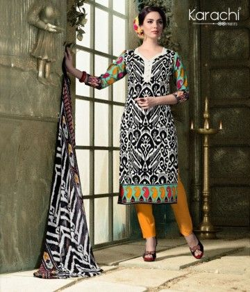 Cotton Karachi Style Dress Material - Black - Fashion Fiesta