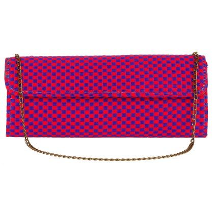 Jaipurse Pink And Blue Checkered Clutch Bag-pink Blue - Jaipur Se