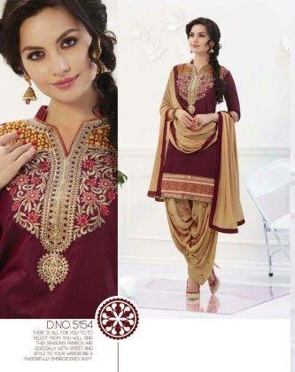 Cotton Patiyala Maroon Cream Dress Material - Fashion Fiesta