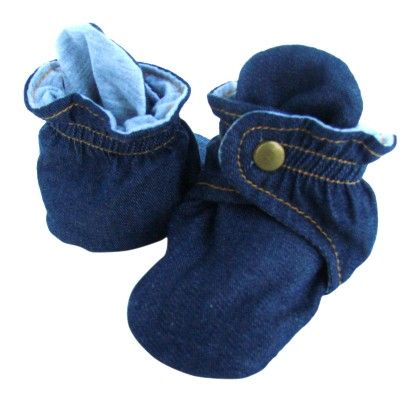 Trimfit Baby Boys All Over Denim Booties With Clasp - Denim Blue,grey