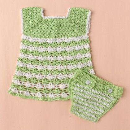 Light Green & White Dress Set With Diaper Cover - Knitting Nani