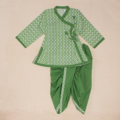 Printed Angrakha Dhoti Set - Green-white - Little Pockets Store/Pocket Fashion