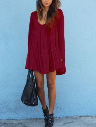 Red V Neck Long Sleeve Pleated Dress - She In