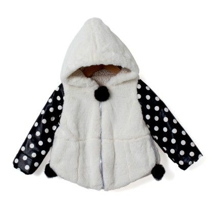 Girls Fur Jacket With Leather Sleeves And Pom Poms - Madcute