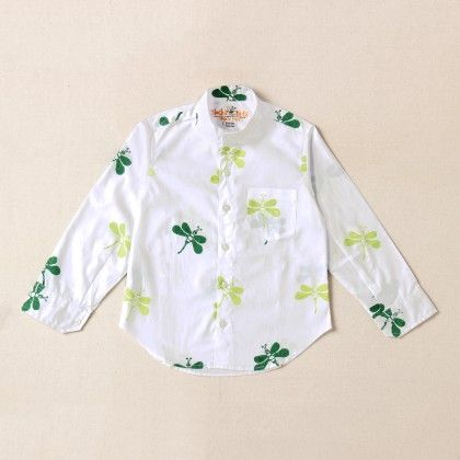 White Shirt With Green Dragonfly Regular Collar - Blocks And Bits