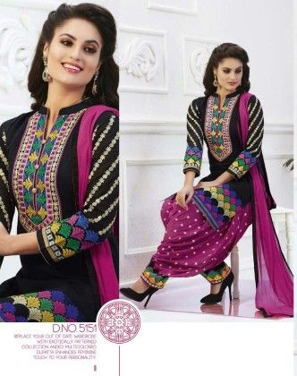 Cotton Patiyala Black Magic Dress Material - Fashion Fiesta