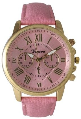 Leather Band Watch With Roman Numbers-pink - Vernier Watches