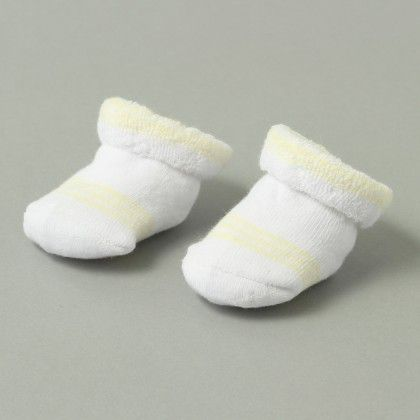 Plain With Motifs Booties White With Yellow Line - Janya