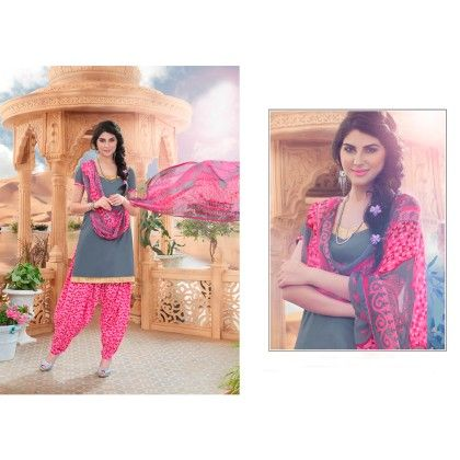 Combo Grey Pink Patiyala Dress Material - Rani Sunday Patiyala