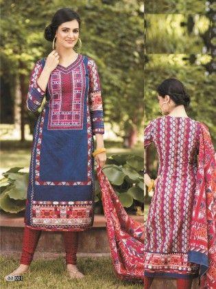 Cotton Printed Navy Dress Material - Fashion Fiesta