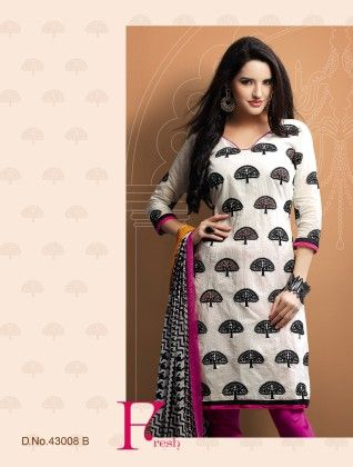 Touch Trends Off White Chanderi Cotton Silk Dress Material - Touch Trends Ethnic