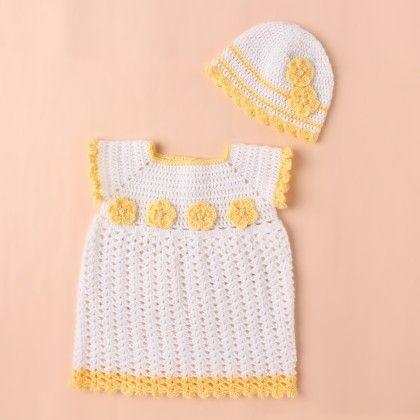 White Dress With Yellow Flowers - Knitting Nani