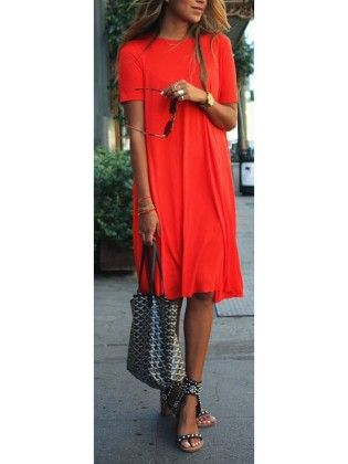 Red Round Neck Short Sleeve Loose Dress - She In