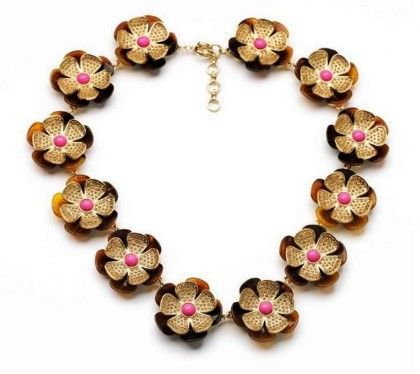 Sarah Necklace- Brown & Honey Gold - Shu Sam & Smith