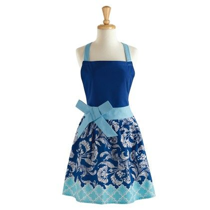 Blues Distressed Riviera Print Floral Retro Apron - Design Imports