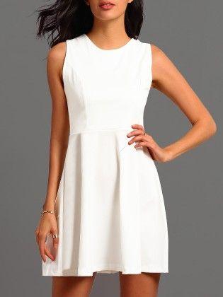 White Round Neck Sleeveless Flare Dress - She In