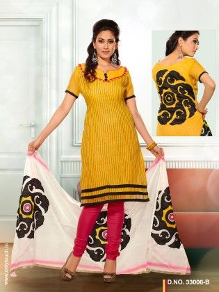 Touch Trends Yellow Chanderi Cotton Dress Material - Touch Trends Ethnic