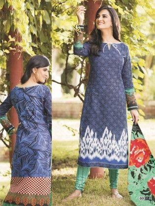 Cotton Printed Blue Floral Dress Material - Fashion Fiesta